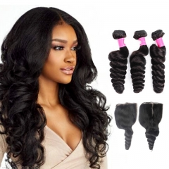 Brazilian Loose Wave Virgin Hair Bundles with Lace Closure