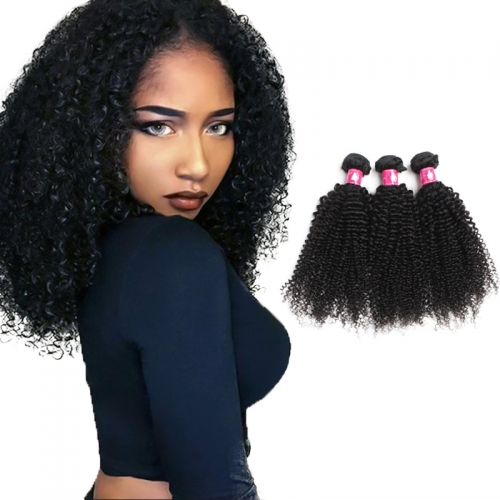 Brazilian Kinky Curly Human Hair Kinky Bundles 1B Color