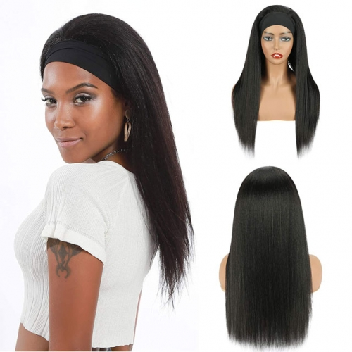 Long straight headband wigs human hair 1B black 10-30 inch elastic cap 150% density Glueless Wigs For Women