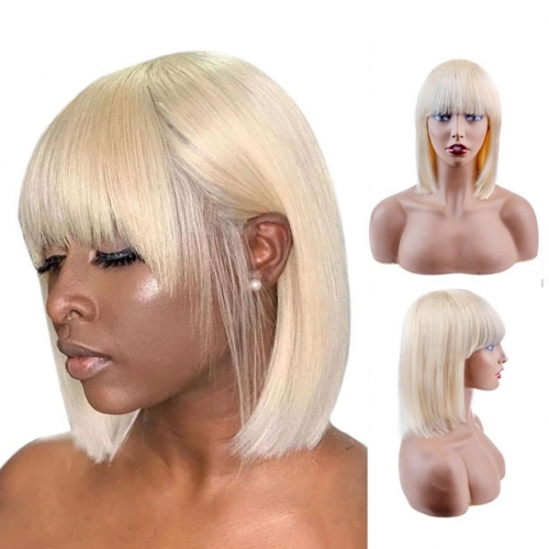 613 Human Hair Wigs With Bangs Straight Blonde Bob Wigs Short Cut Wigs For Women