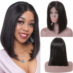 Virgin Straight Deep Part Bob Lace Closure Wigs Human Hair Short Bob 150 Density T Lace Wigs Pre Plucked Natural Hairline